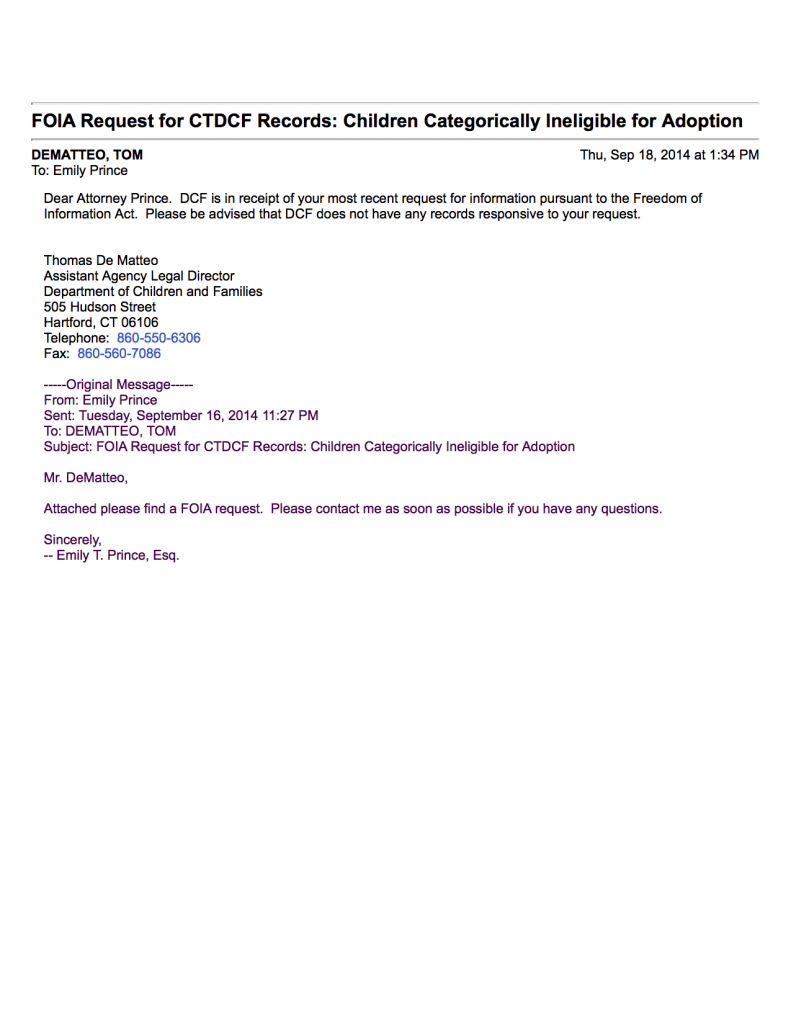 FOIA Response for CTDCF Records - Children Categorically Ineligible for Adoption